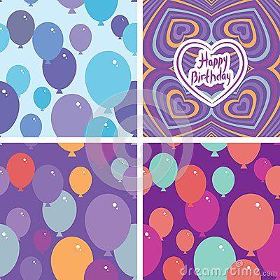 Картина комплекта 3 безшовная с воздушными шарами и поздравительой открыткой ко дню рождения с днем рождений Фиолетовая, розовая,