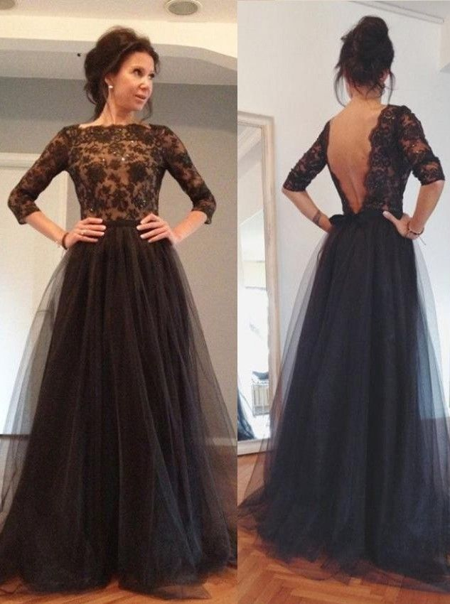A-Line Bateau 3/4 Sleeves Backless Black Tulle Prom Dress with Beading.  Navy Lace DressesSimple ...