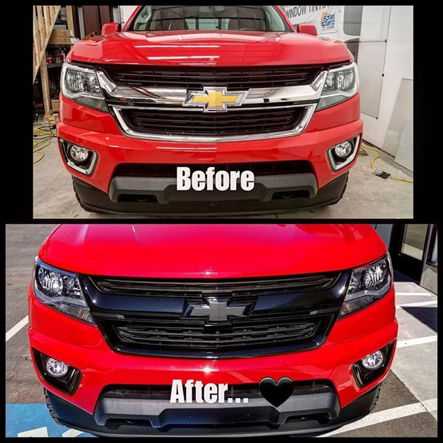 New Chrome Delete Vinyl Wrap We Installed On This Beautiful Red Chevy Truck Gloss Black With Matte Black Emblems New Chrome Vinyl Wrap Chevy Trucks