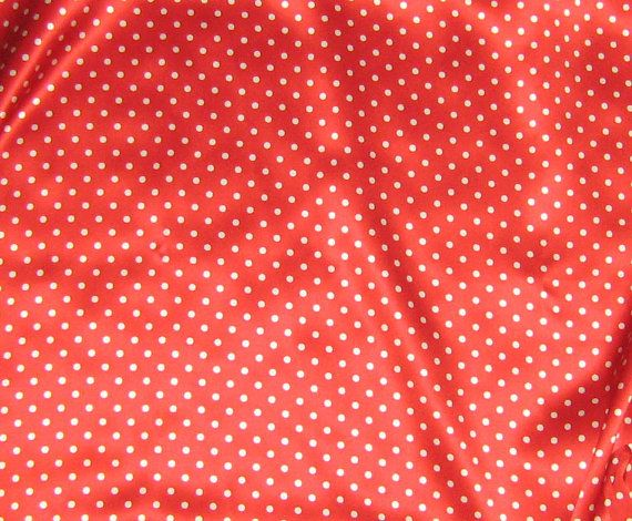 Silk Charmeuse Fabric  Red & White POLKA DOTS  fat by silkfabric, $7.50