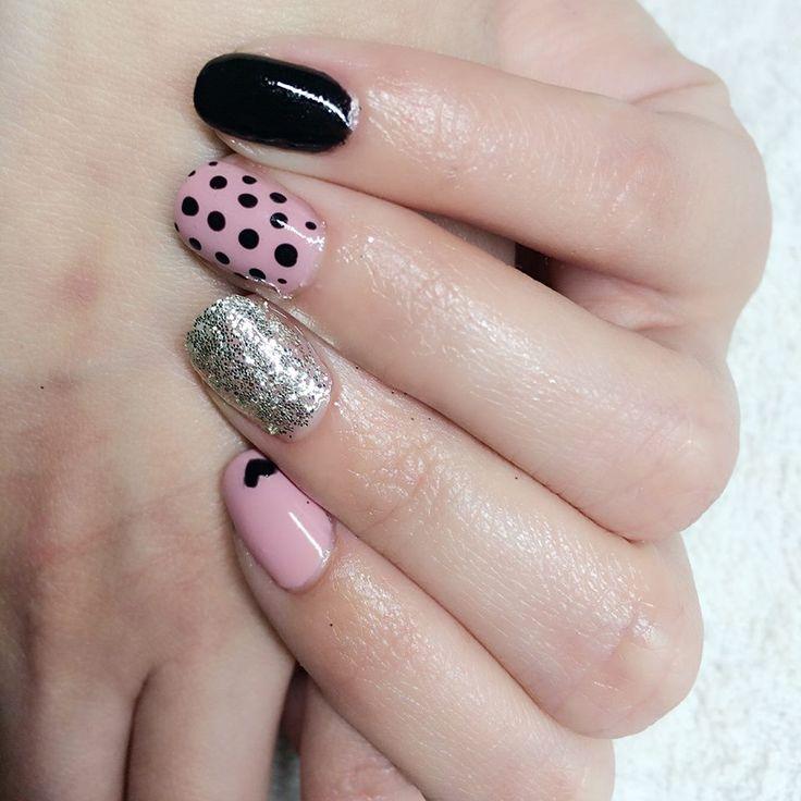 cute gel lac nail polish pink black heart dotty silver shiny
