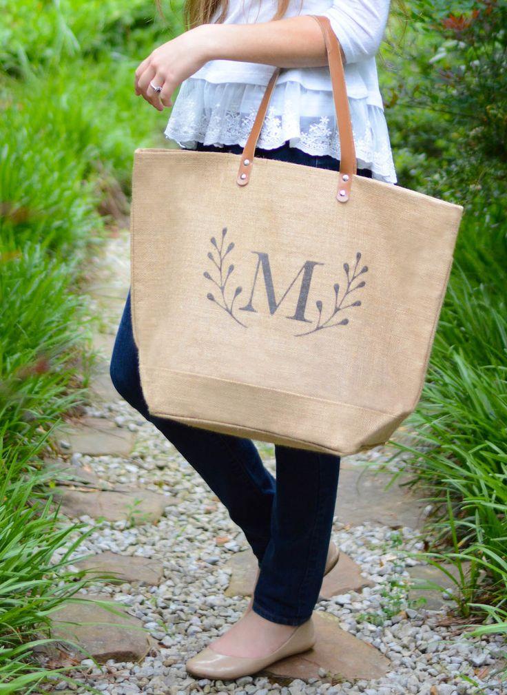 Monogrammed Weekender Bag Personalized Bag Zippered Tote Waterproof Beach Bag with pocket laurel deer antler monogram personalized gifts by indigotangerine on Etsy