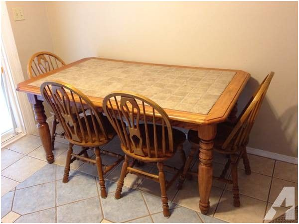 Ashley Solid Wood And Tile Kitchen Table W 4 Chairs For Top Kitchen Table Kitchen Tables For Sale Expandable Dining Table