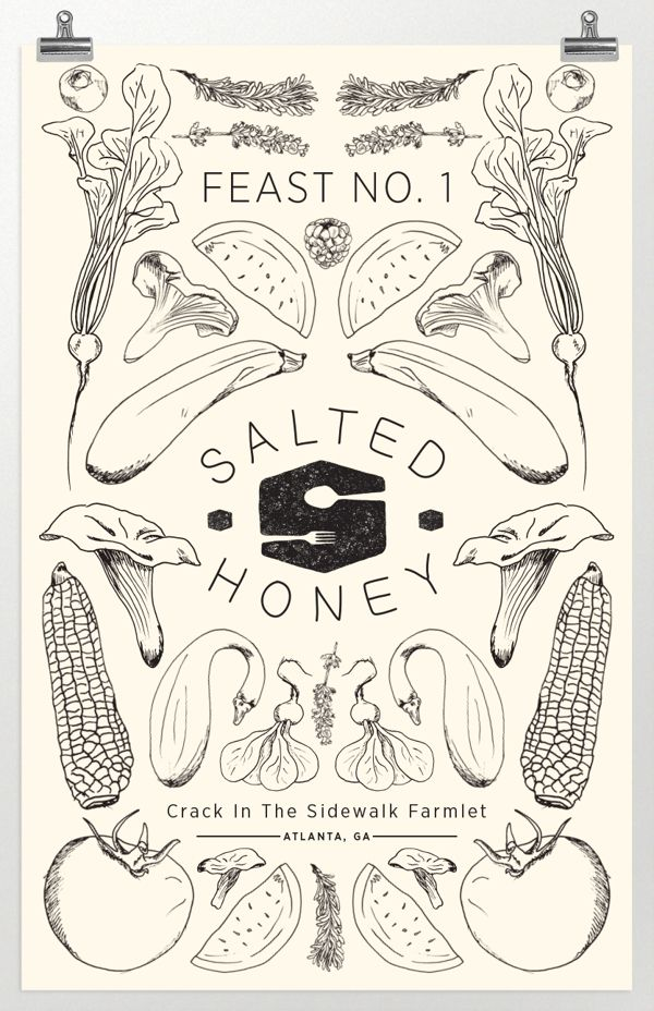 Menu, recipe card, & poster illustration & design for Salted Honey's first dinner in their dinner series Feast.Illustration: pen & ink edited in photoshop