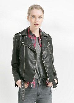 Giubbotto biker pelle - Giacche da Donna | MANGO