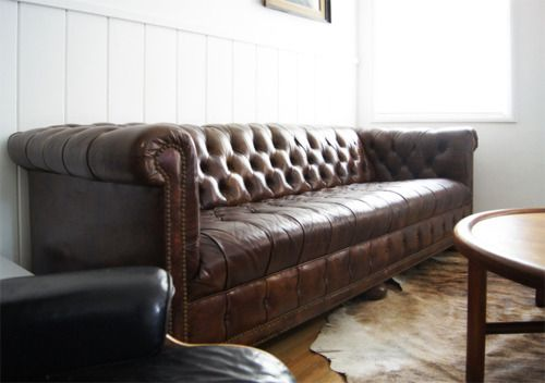 An old, beat up Chesterfield sofa. I will have one someday. I will.