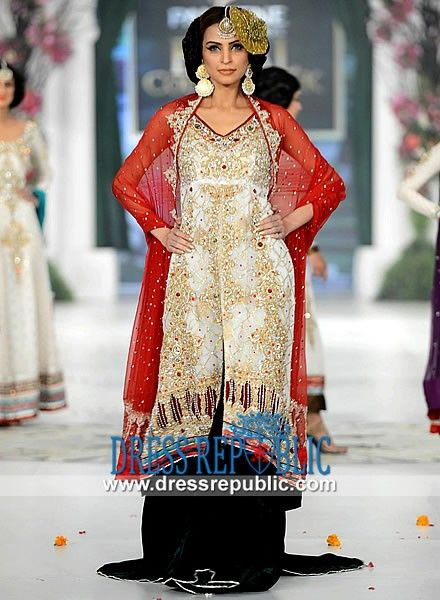 Long Embrllished Dress with V Neck from Pakistani Party ...