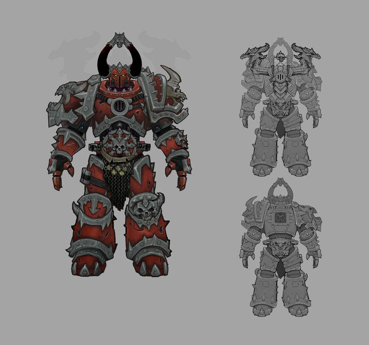 Dark Millennium Online, the Warhammer 40,000 MMO by VIGIL Games featured a Chaos faction and these represent what was to be the tank class. These concept/variants were painted over an existing rigged model and meant to show the leveling up of the armor while striking a balance between variation and staying true to the IP.  ( Scroll in a downward manner. )  http://wh40k.lexicanum.com/wiki/Chaos_Space_Marine   See finished assets by Eric Spitler here…