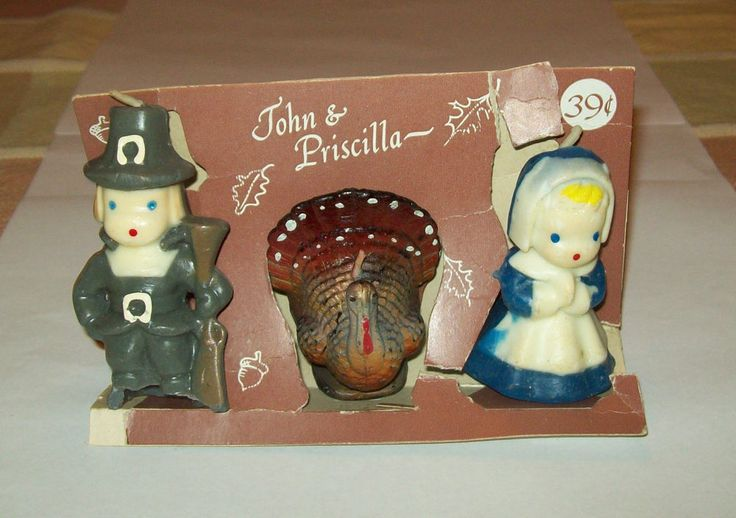 VINTAGE THANKSGIVING GURLEY CANDLE SET PILGRIMS JOHN & PRISCILLA & TURKEY