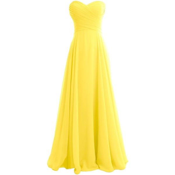 MACloth Women Strapless Pleated Chiffon Long Bridesmaid Dress Wedding... ($119) ❤ liked on Polyvore featuring dresses, gowns, long dresses, long yellow dress, long bridesmaid dresses, yellow ball gown and evening party dresses