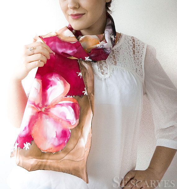 Hand Painted Satin Silk Scarf. Pink stylish handmade by SEscarves