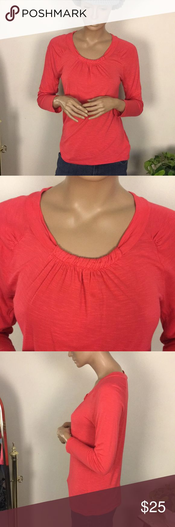 """Kenneth Cole Knit Top Excellent condition!! Great detail in collar and at shoulders! 100% Viscose. Length from shoulder to bottom is 24"""" chest measurement 17 1/2"""". Color is like a water Mellon color. Kenneth Cole Tops Tees - Long Sleeve"""