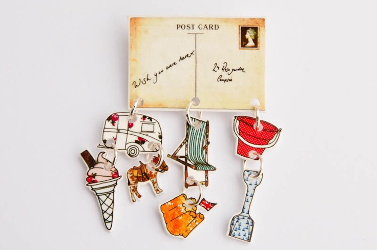 postcard brooch, with ice cream charm, donkey, bucket and spade, caravan and sandcastle by JodieAnna on etsy