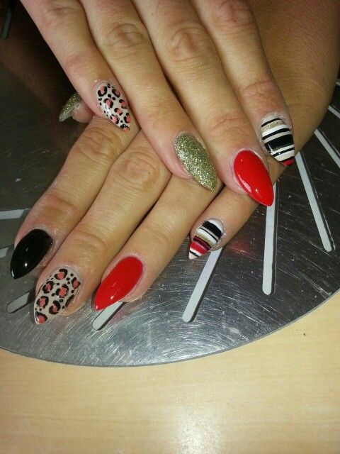 Lines, leopard print with nail art