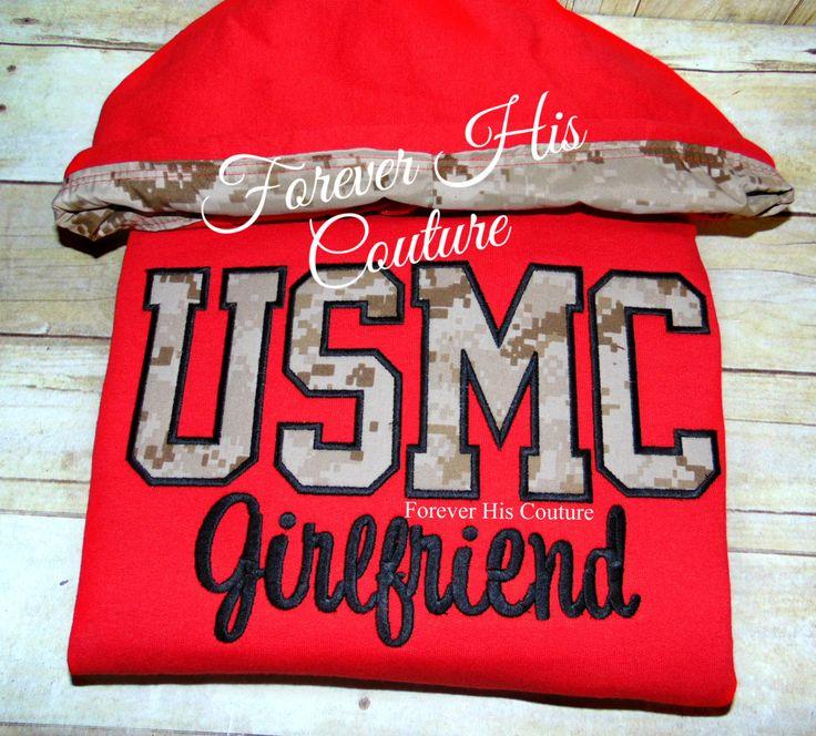 USMC pullover with digital desert Camo hood. Usmc Girlfriend Usmc Wife Usmc Mom Marine Girlfriend Marine Wife Milso Military pullover by ForeverHisCouture on Etsy