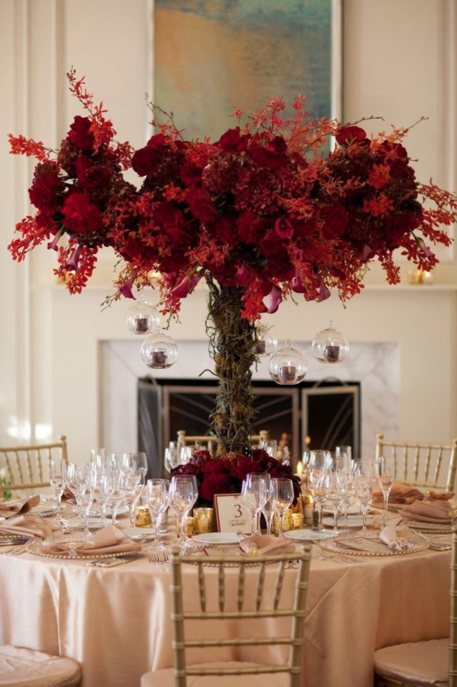 berry red tall wedding centerpiece - perfect for a fall or winter wedding! ~  we ❤ this! moncheribridals.com