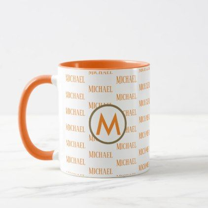orange mug with monogram and pattern of names - monogram gifts unique design style monogrammed diy cyo customize