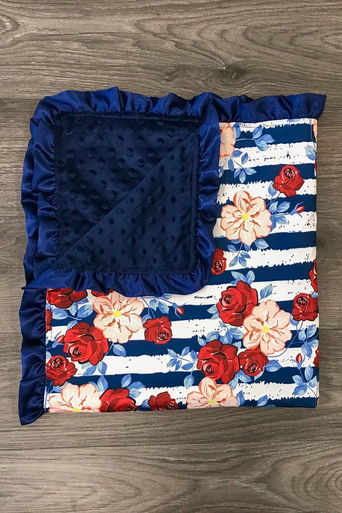 Blankets & Throws Blue floral minky baby blanket