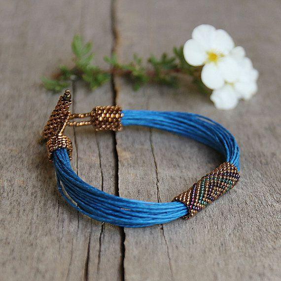 Tribal bracelet blue linen bracelet colorful by Naryajewelry