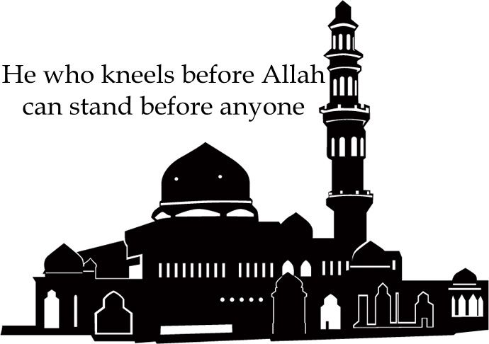 Short Islamic Quotes - Short Quotes (7).    He who kneels before Allah can stand before anyone.             short inspirational quotes - short quotes about life - picture quotes