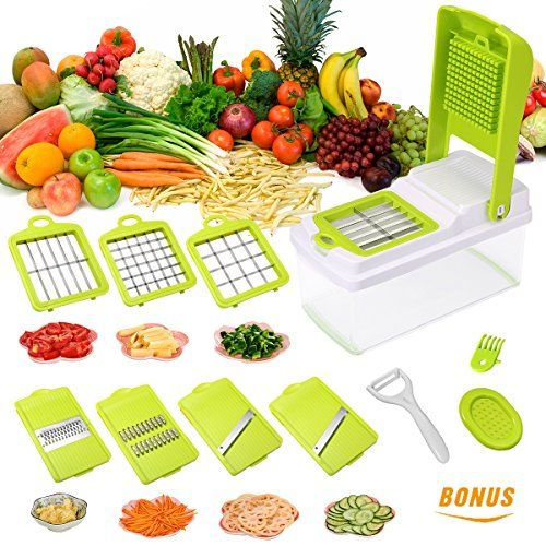 cool Godmorn Vegetable Slicer, Mandoline Slicer Dicer, 7 blades Peeler Hand-Guard Cleaning Tool Bonus,Multi-function Food Proceer, Fruit and Cheese Cutter,Chopper,Grater