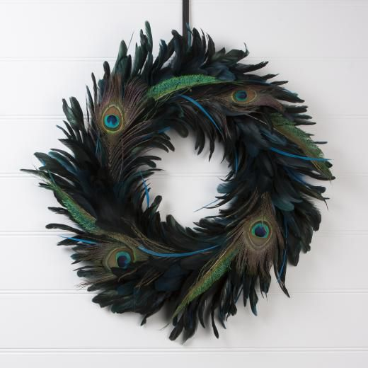Gislea Graham Peacock Feather Wreath - £54.00 - A great range of Wreaths, Garlands & Signs gifts and homewares from The Contemporary Home Online Shop tch.net
