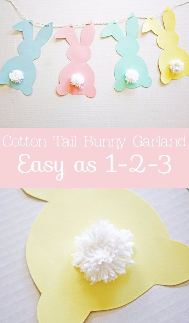 DIY Easter Decorations - Decor Ideas for the Home and Table -  Cotton Tail Bunny DIY Garland - Cute Easter Wreaths, Cheap and Easy Dollar Store Crafts for Kids. Vintage and Rustic Centerpieces and Mantel Decorations. http://diyjoy.com/diy-easter-decorations