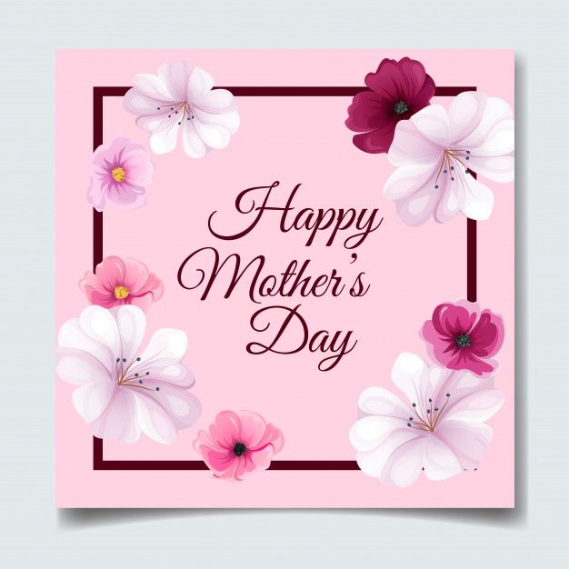 Happy Mother S Day Greeting Card Design With Beautiful Flower And