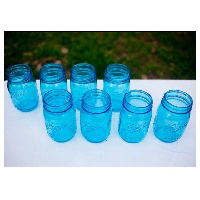 #masonjars #blue #vases #jars #lanterns #party #wedding #propshire #willowandvine