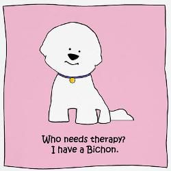 """""""Who needs therapy? I have a #bichon, I think therapy may be cheaper, though!"""