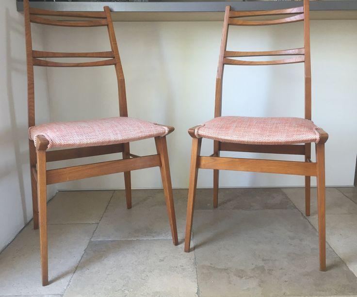 2 chaises vintage couleur mandarine tissu Camengo à retrouver sur Selency by brocantelab