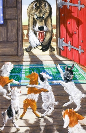There stood the wolf - The Wolf And The Seven Little Kids - Robert Lumley - Ladybird Book