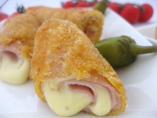 San Jacobos enrollados o rollos de jamón y queso