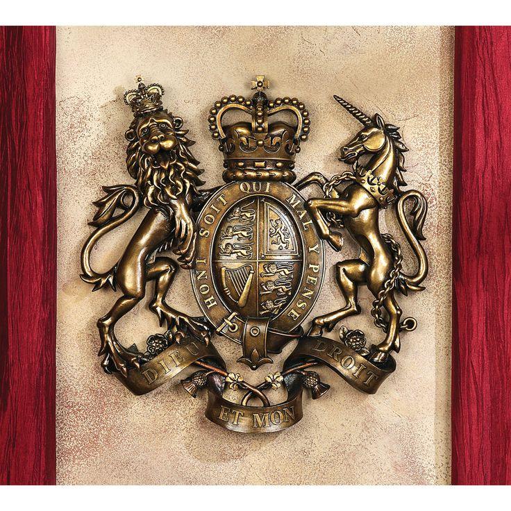 UK Royal Heraldry Blazon Lion & Unicorn Coat of Arms Shield Wall Sculpture #Medieval