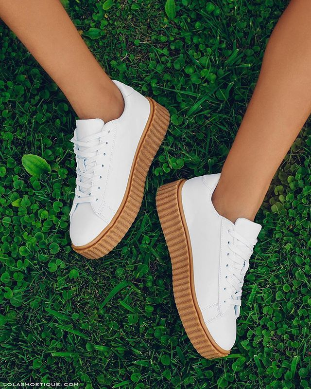 WEBSTA @ lolashoetiquedolls - Fresh Whites!Add our creepers to your must have collection NOW!#lolashoetique | lolashoetique.comStyle Name: GONE BADD