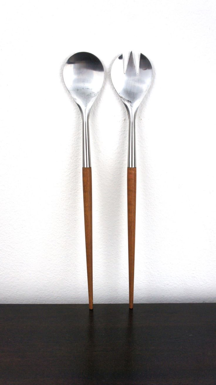 Vintage Mid Century Modern Teak Salad Serving Set, Stainless Steel with Teak Handles, 1960s Wooden Salad Tongs, Made in Denmark, 310024 by TheLionsDenStudio on Etsy Ooh, I have ones like these
