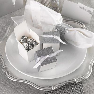 Silver Gliter Wrap Favor Box (Set of 25)