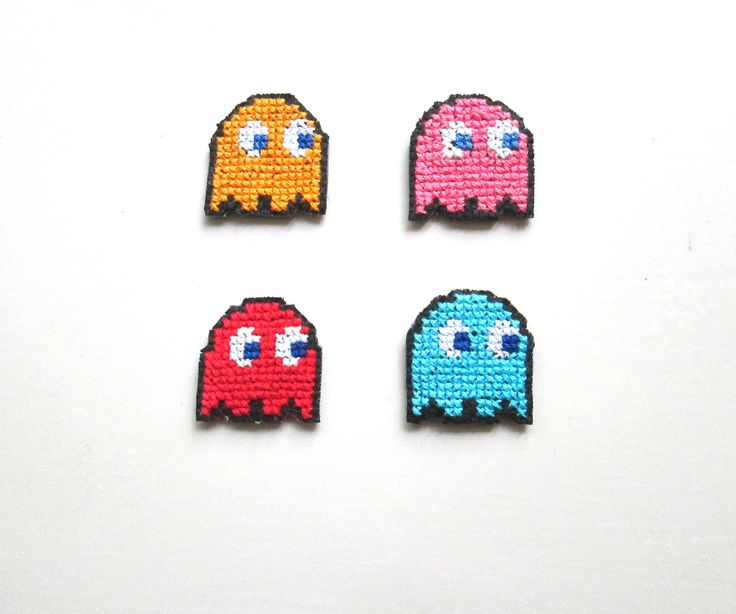 Pacman Enemies Cross Stitch Magnets in Black Aida (part of a set of 9)
