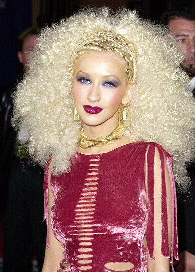 Christina Aguilera's Hair Evolution: April 10, 2001...oh wow. Glad she has moved past this look