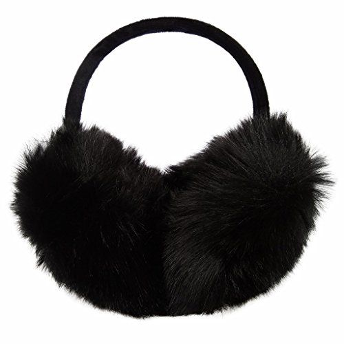 LETHMIK Women's Faux Fur Foldable Big Earmuffs Winter Outdoor Ear Warmers Black ** You can get more details by clicking on the image.