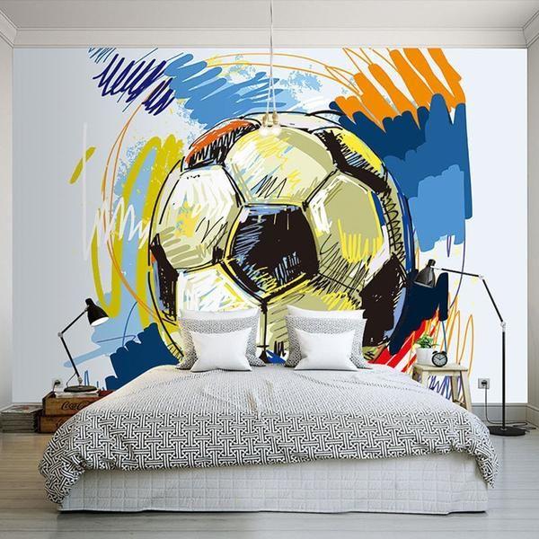 Custom Wallpaper Mural For Kid S Room Hand Painted Graffiti Football Mural Wallpaper Murals For Kids Kids Room Wallpaper
