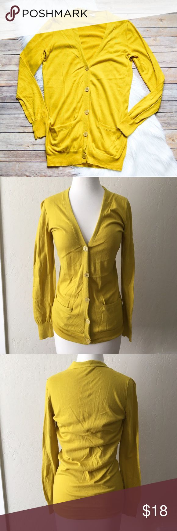 "J. CREW FACTORY Cardigan Mustard yellow lightweight cardigan with two front pockets. Banded hem and cuffs. 100% cotton. Fits longer.  Armpit: 17"" Shoulder to Hem: 28""  Instagram: @bringingupsuns J. Crew Factory Sweaters Cardigans"