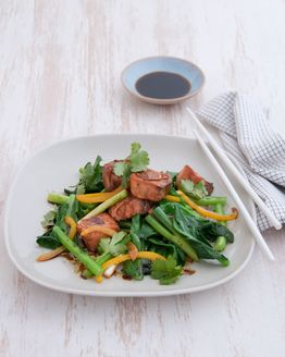 Ginger Salmon Stir-fry with Chinese Broccoli