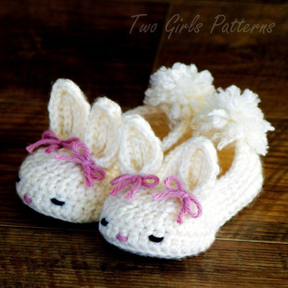 .Crochet Baby Bootie Patterns bunny | Crochet Pattern Baby Booties Bunny House Slippers PDF Pattern ...