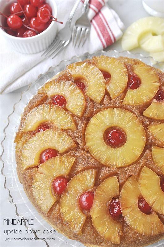 Pineapple Upside Down Cake with Vanilla Sauce @yourhomebasedmom.com