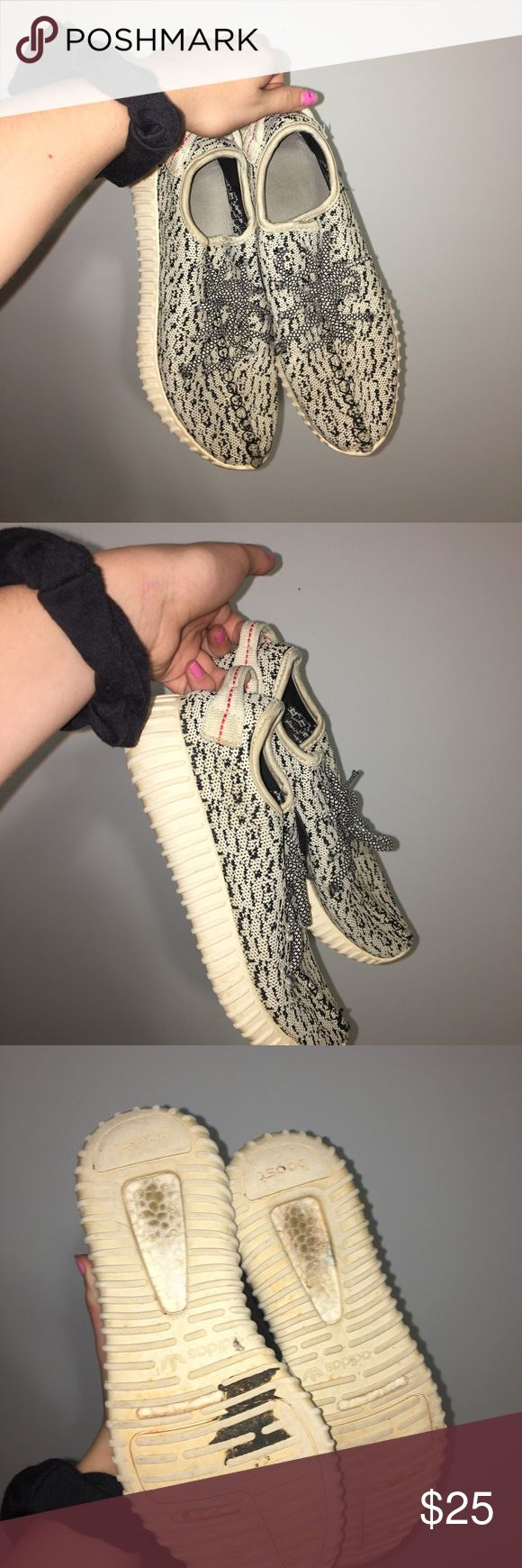 """Adidas Kanye West """"YEEZY 350 BOOST"""" Faux Worn multiple times, """"well loved"""", extremely comfortable!!  although they are fake they are very believable. Yeezy Shoes Athletic Shoes"""