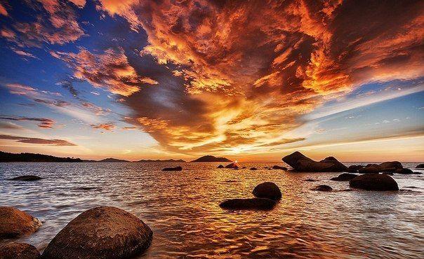 """""""Огненный"""" закат... Остров Калимантан (Борнео)  Индонезия.  Кто был  либо желает посетить: Нажми :❤«Мне"""