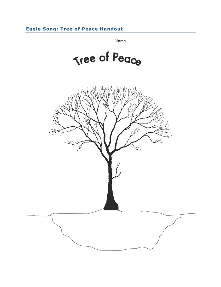 Tree of Peace activity for Eagle Song by Joseph Bruchac. Students write words that describe acts of peace on the branches of the tree. In the hole under the tree, students write actions that bring about hurt. Full lesson plan at http://www.witsprogram.ca/schools/books/eagle-song.php?source=lesson-plans