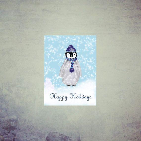Printable Christmas Card Printable Holiday Card by MerciKiss, $5.00 #printablecard #holidaycard #penguin #winter  #christmas