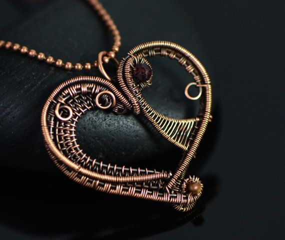 Wire wrapped heart necklace artistic wire weave by OrioleStudio